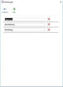 Abtelungen und Bereiche im Rechnungsprofi Postbuch Plus