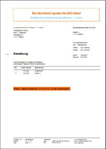 Bestellformular, Bestellungen erzeugen, Bestellungsdruck